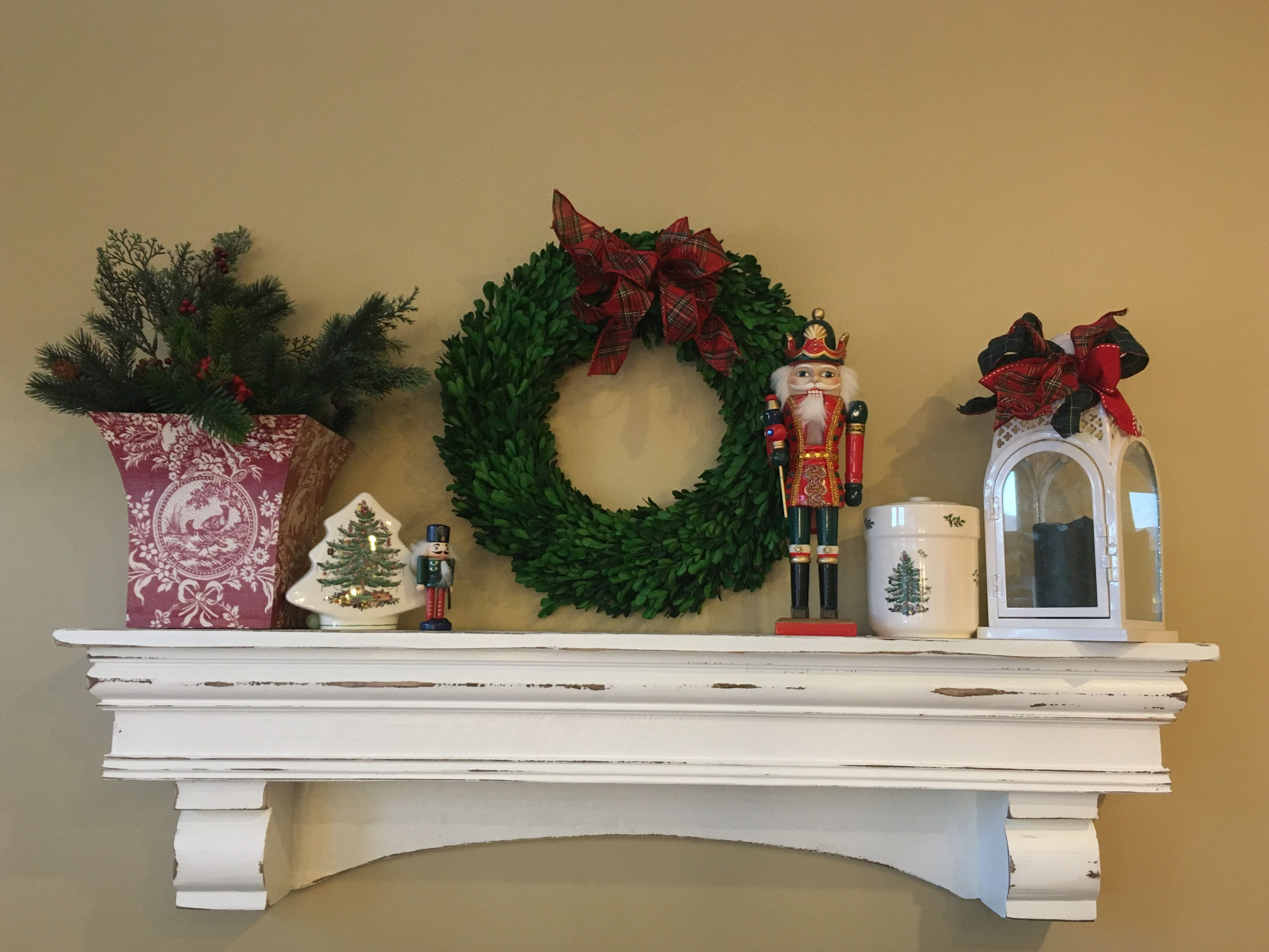 Boxwood Wreath With Festive Tartan Bow Red Toile Planter Filled Holiday Greens Nuter
