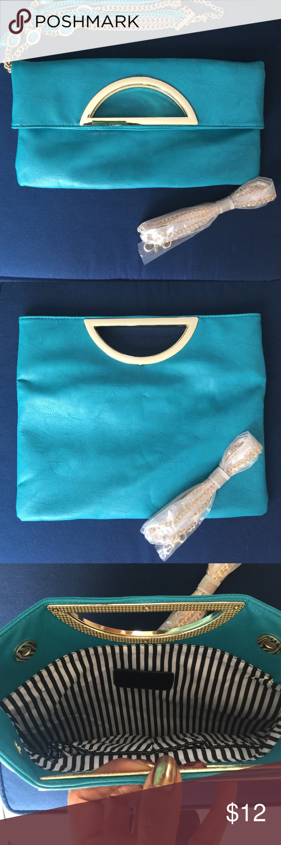 Charming Charlie Clutch Clutch bag expands into a larder bag. Comes with gold tone chain shoulder strap. Charming Charlie  Bags Clutches & Wristlets