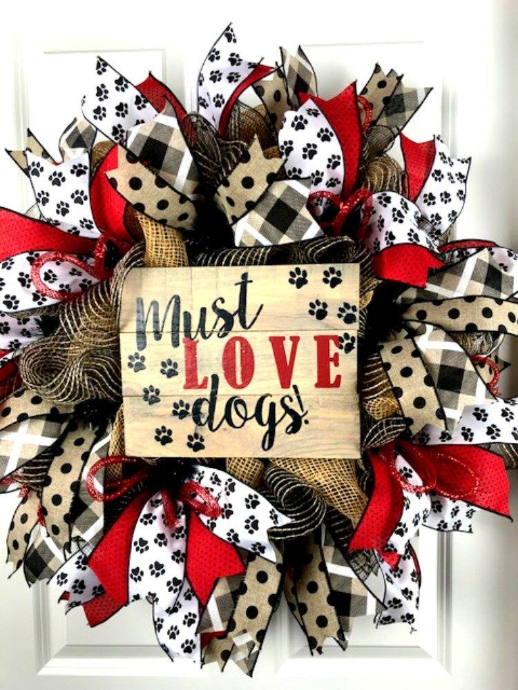 Photo of Must Love Dog Wreath, Pet Wreath, Red and Black Wreath, Paw Print Ribbon Wreath, Jute Mesh Wreath, Front Door Wreath, Dog Wreath, Dog Decor