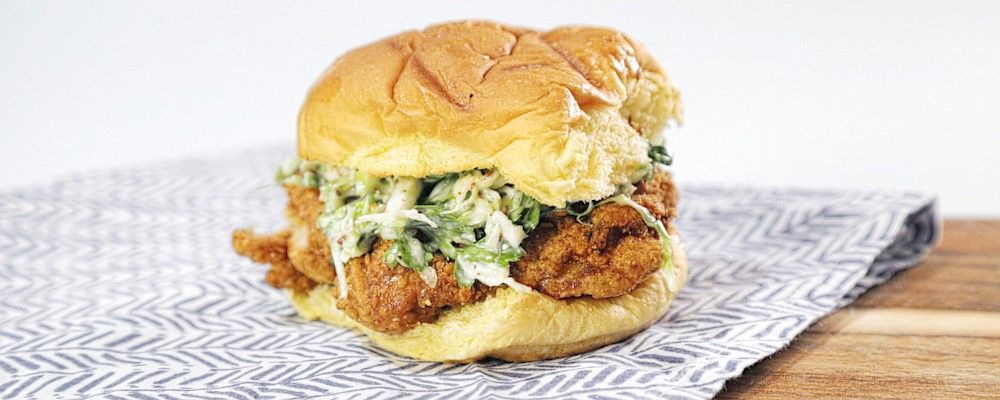 Fried Chicken Sandwich with Brussels Sprouts Slaw Recipe by Michael Symon - The Chew