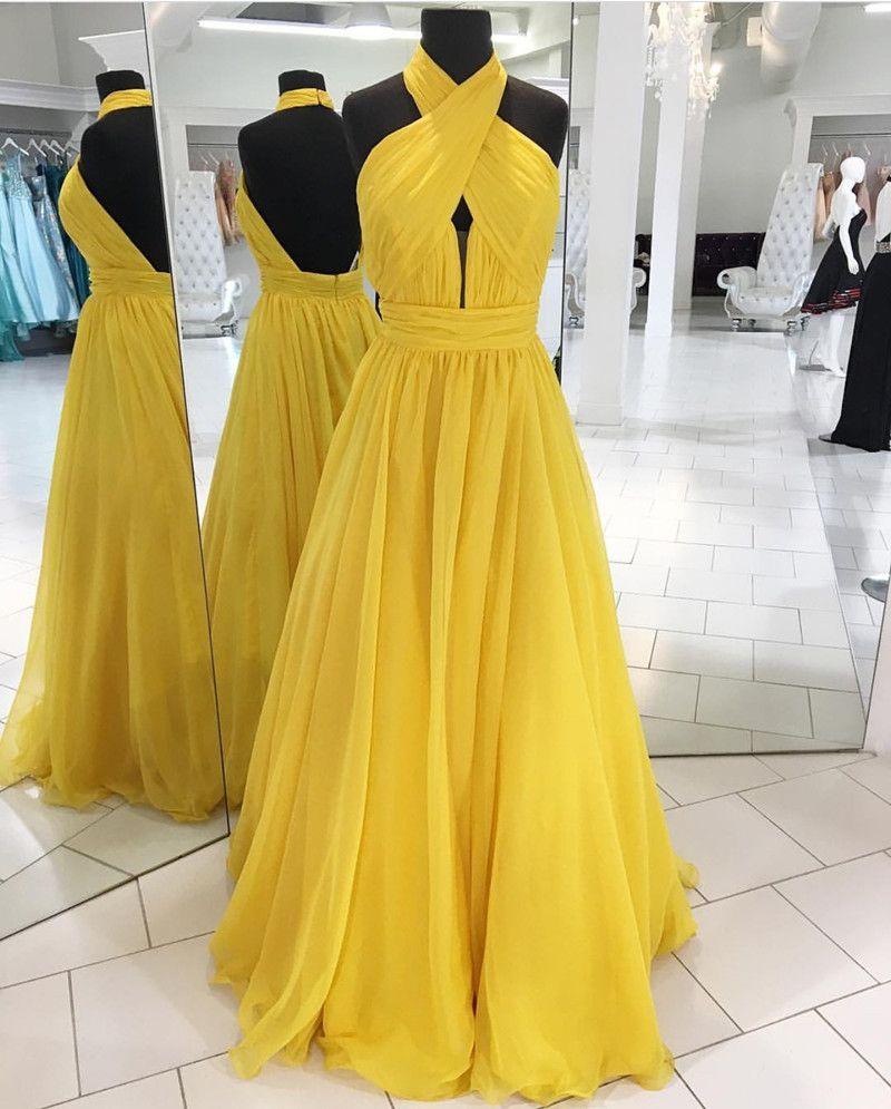 Halter prom dresschiffon prom long dressopen back evening gowns