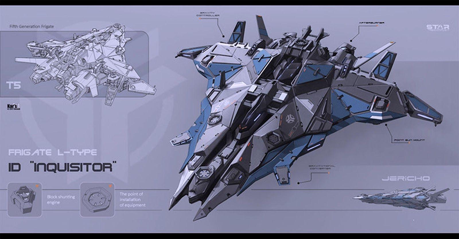Futuristic+sci+fi+Spaceship+fighter+jet+comber+frigate ...