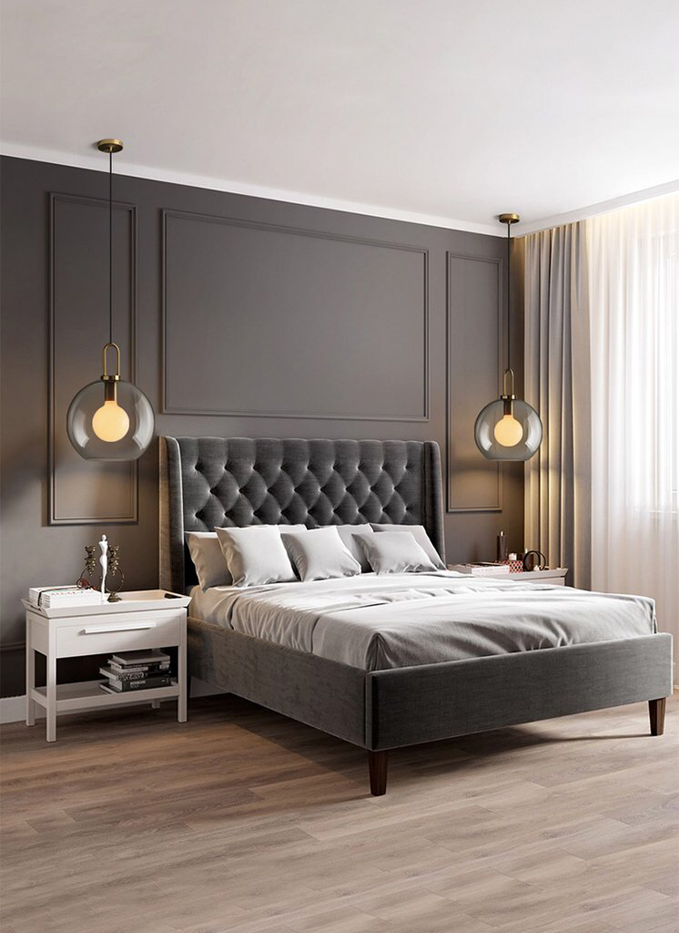 Yayoi Glass Pendant Light Tudo And Co Luxurious Bedrooms Contemporary Bedroom Design Modern Master Bedroom