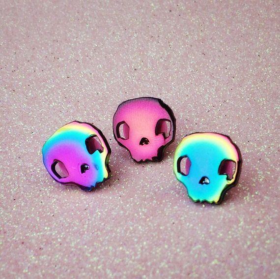 Rainbow Metal Skull Pin, Anodized Oil Slick Finish, Enamel