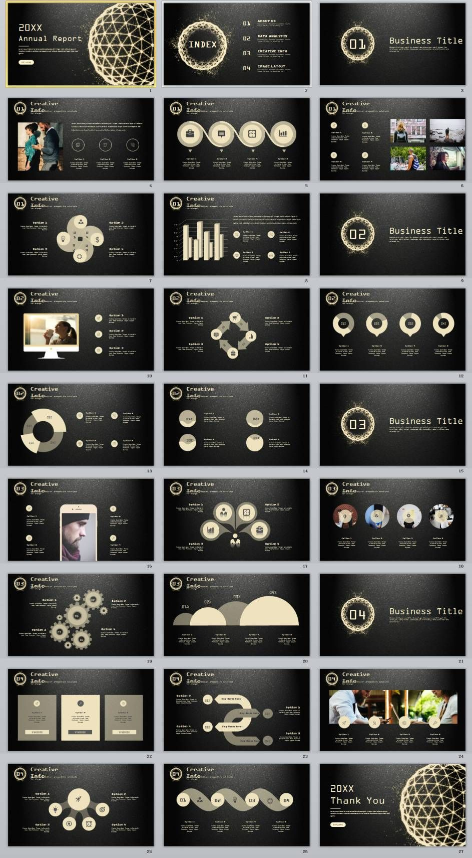 27+ gloden Creative infographics annual PowerPoint Template ...