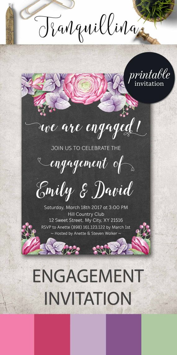 Engagement Invitation, Engagement Party Invitation, Couples Shower Invitation, Printable Engagement Invitation Floral Engagement Invite. tranquillina.etsy.com