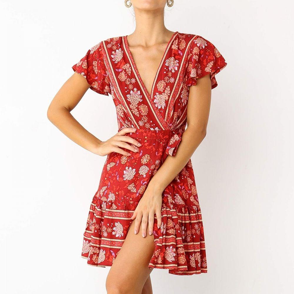 Buy Cheap Floral V Neck Dress for sale online in 2020