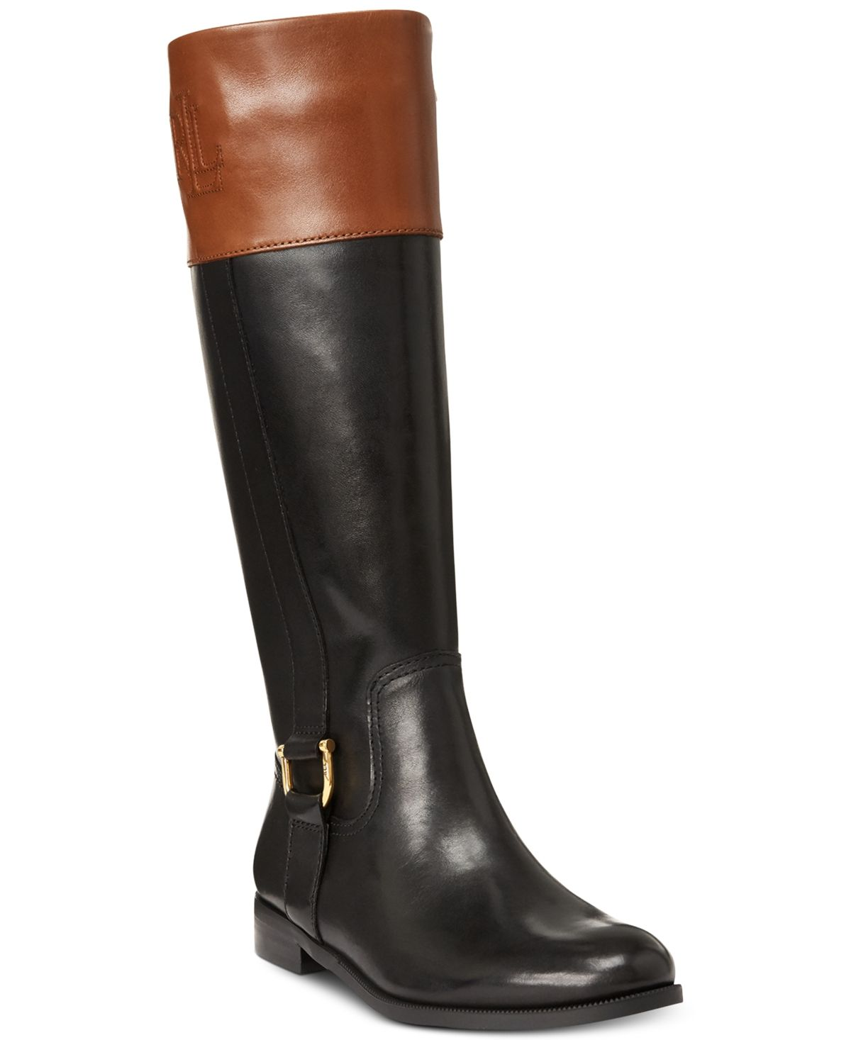 Lauren Ralph Lauren Bernadine Wide-Calf Riding Boots - Two Tone