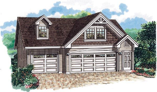 Cape Cod Style 3 Car Garage Apartment Plan Number with 1 Bed 1 Bath