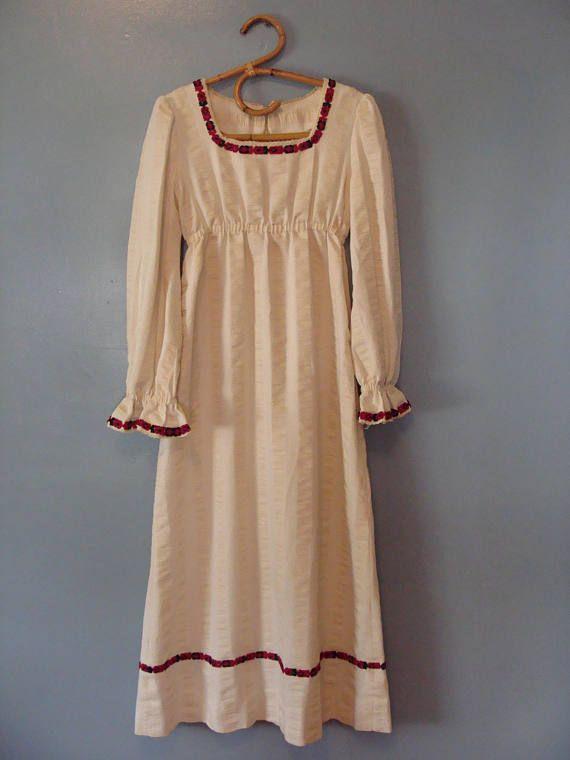 1f4a0e18c8 Vintage Prairie Dress 60s Peasant Dress Hippie Maxi Dress Handmade ...