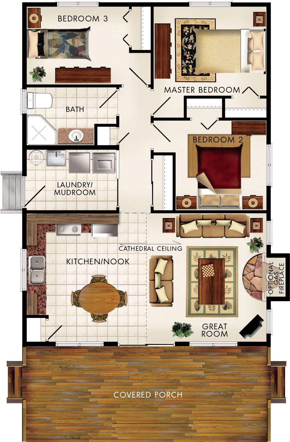 Cost Effective 936 Sf Home With Amazing Use Of Space The Front Porch Vaulted Ceiling Carries T Beaver Homes And Cottages Basement House Plans New House Plans