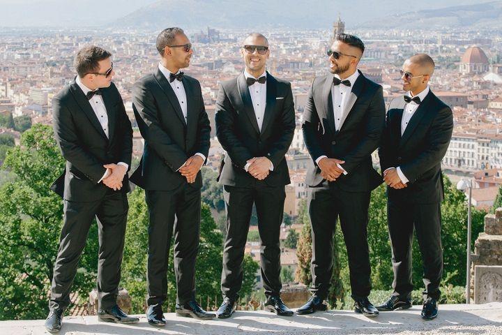 Groom and groomsmens for a Breathtaking Fairytale Venice Wedding + Steven Khalil wedding dress | itakeyou.co.uk #wedding #venicewedding #destinationwedding #elegantwedding #white #goldwedding #fairytalewedding