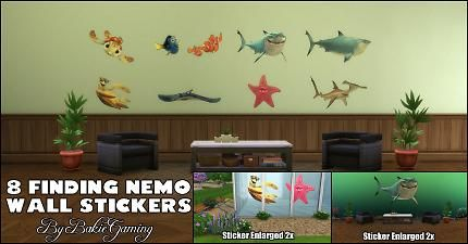 Mod The Sims - Finding Nemo Wall Stickers (StandAlone object)