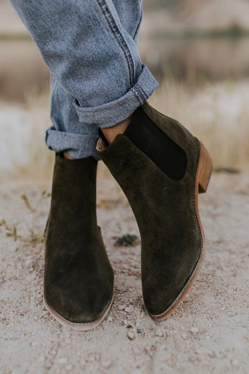 Green Suede Ankle boots for Women