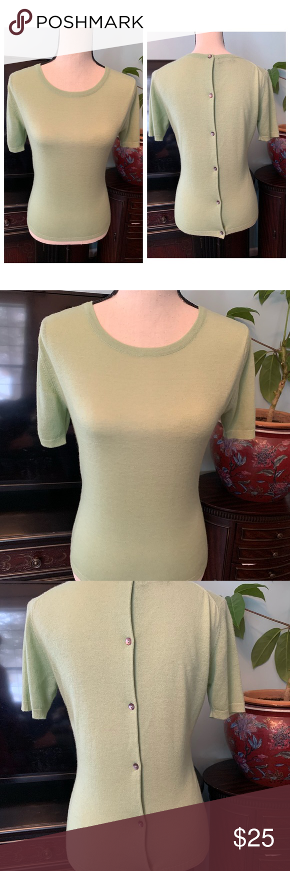 Cashmere Sweater Stort Sleeves Green M Prushcashmere Cashmere Sweater Stort Sleeves Green Medium Bottom Back Excellent pre owner condition like new plushcashmere Sweaters...