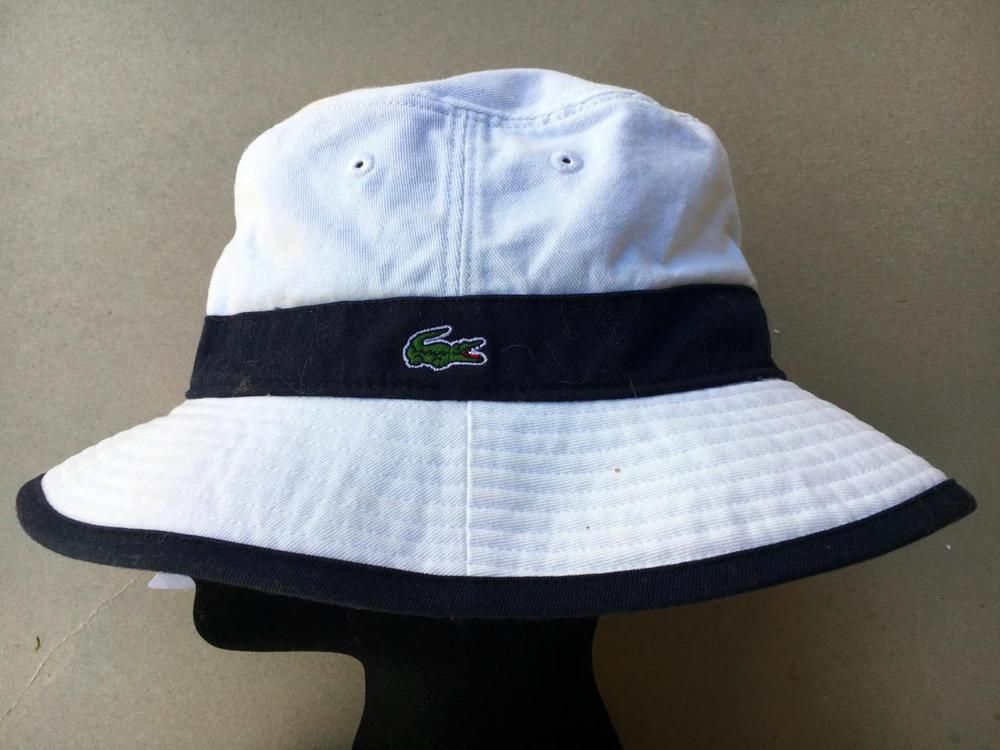 LACOSTE Unisex WHITE  NAVY Bucket Hat TENNIS HAT~Sz. M L~STYLE  CHORUS~AUTHENTIC  Lacoste  BUCKETTENNISHAT 1227cd783b8f