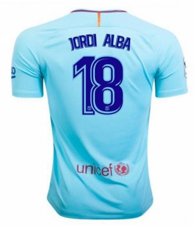 [JOE] Adult #18 JORDI ALBA Barcelona Away Blue Jersey Soccer Jersey 2017/18