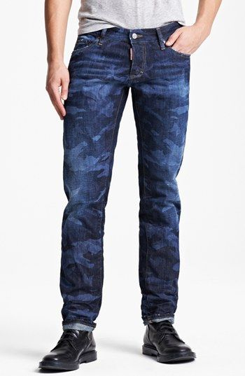 8fb691bd33 Dsquared2 Camo Print Slim Fit Selvedge Jeans (Camo Blue) available at   Nordstrom