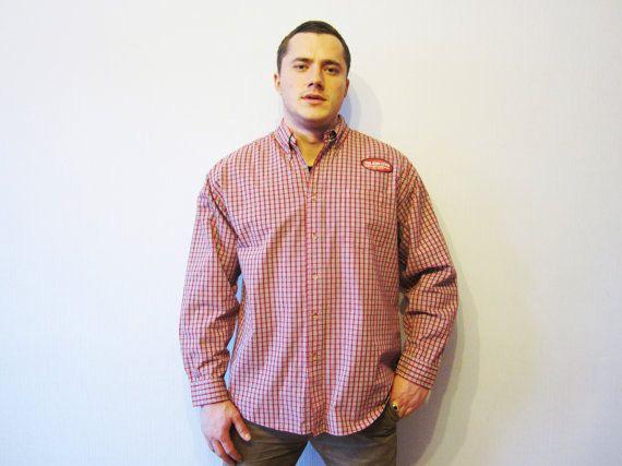 356907bdc819 NOS Wrangler Shirt Vintage Plaid Shirt Cotton Checked Shirt Men Grunge Shirt  Long Sleeve Shirt Lumbe