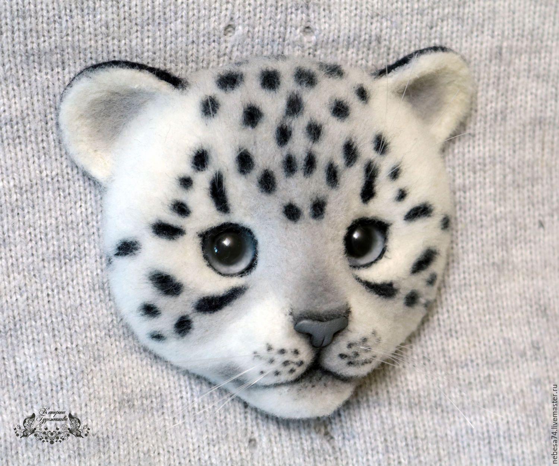 needle felting snow leopard brooch