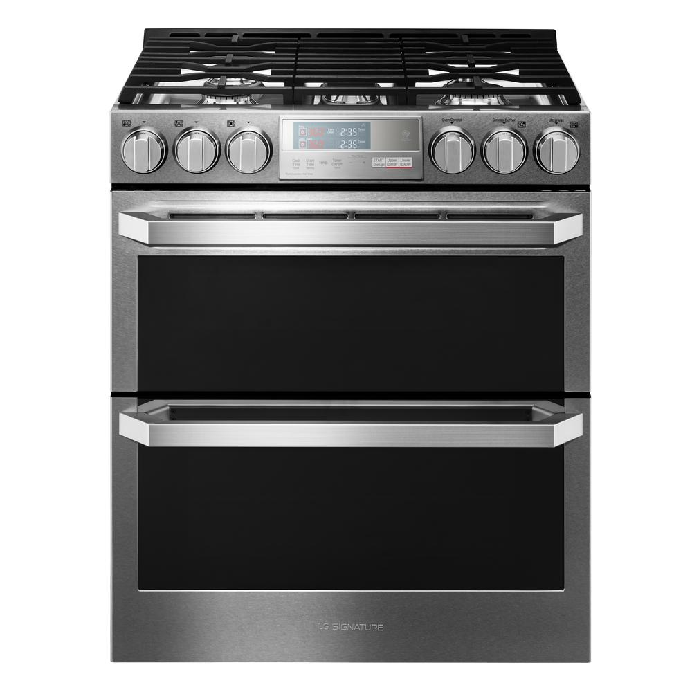 Lg Signature 6 9 Cu Ft Double Oven Smart Slide In Gas Range With
