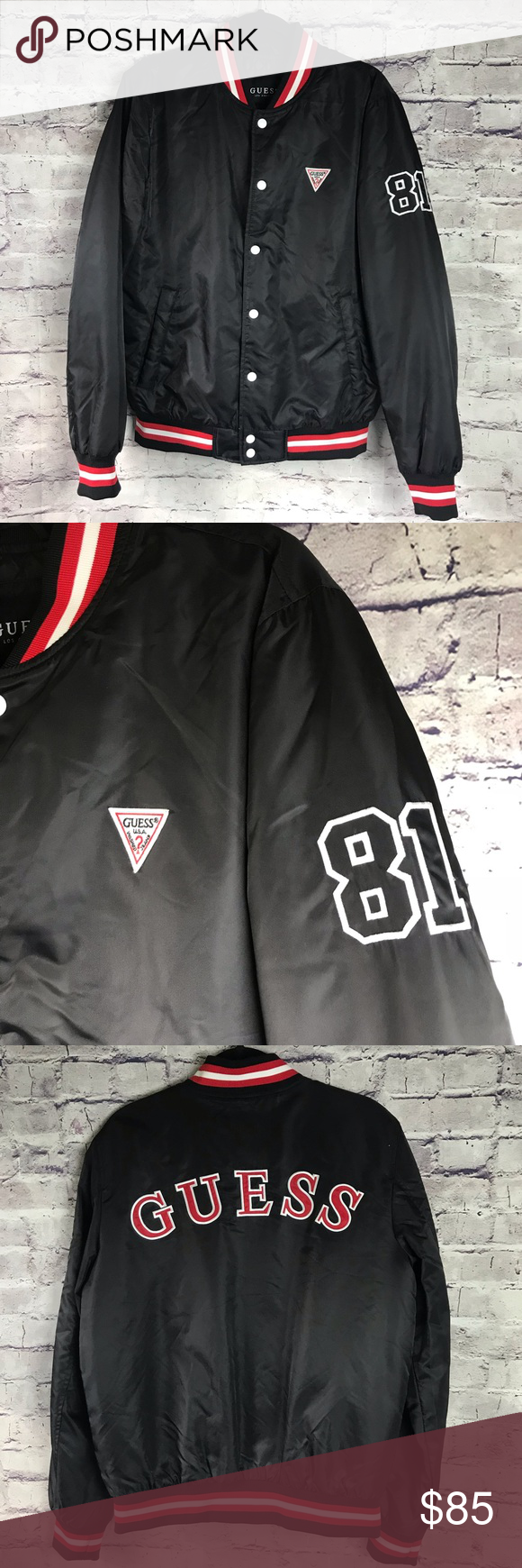 "Guess Bomber Varsity Jacket NWOT! NWOT! Guess Los Angeles, Black, Red and White Bomber Varsity Jacket. Quilted Interior. Size Medium.  Measured Flat- Chest 23"" Length 27"" Sleeve 27"" Guess Jackets & Coats Bomber & Varsity #varsityjacketoutfit"
