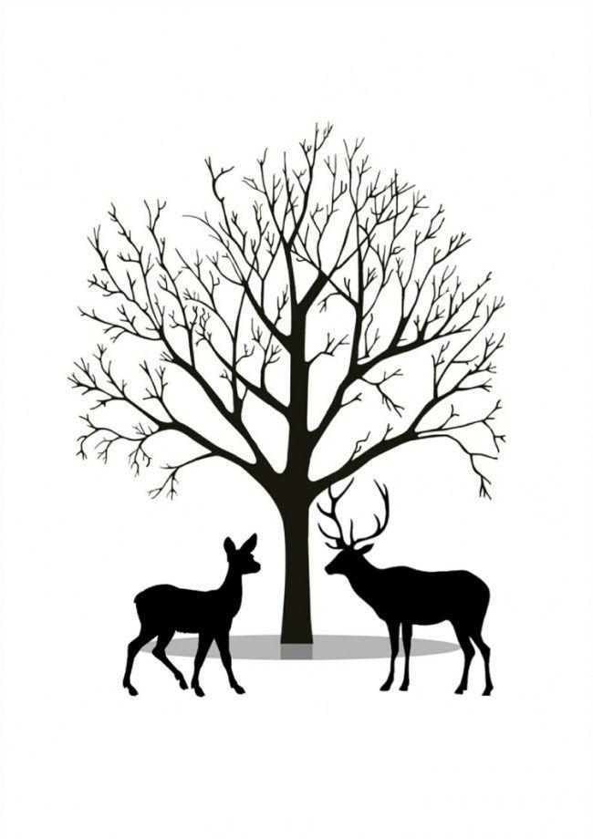 fingerabdruckbaumvorlageparkwaldwieserehhirsch