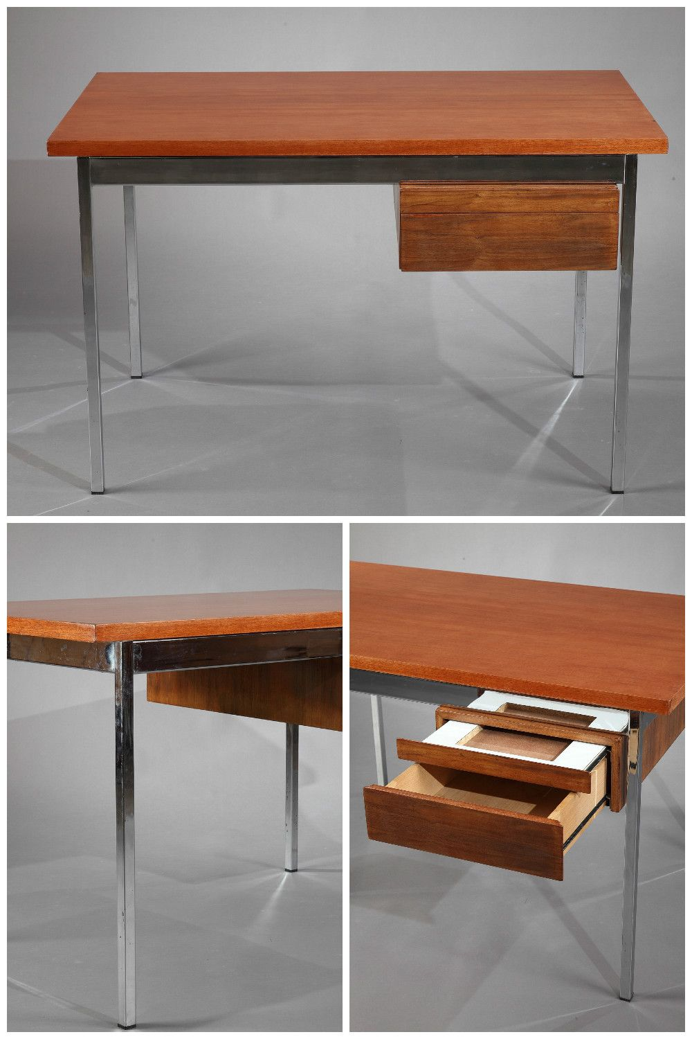 Modernist desk with wooden tray and chrome-plated metal structure, provided with two small drawers. Designed by Florence Knoll in the 50s and manufactured by Knoll International during the 1960s.
