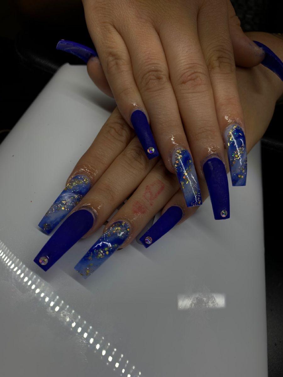 Royal Blue Nails Acrylic Nails Coffin Pink Blue Acrylic Nails Royal Blue Nails
