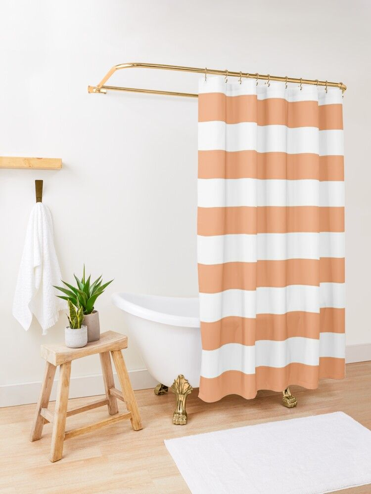 Orange And White Stripes Shower Curtain By Colorkingdom Orange Shower Curtain Striped Shower Curtains Patterned Shower Curtain