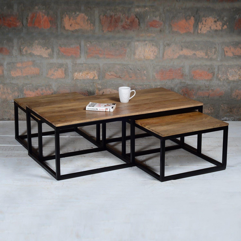 Suri Modern Industrial Nest Of Coffee Tables In Mango Wood Metal Detail Sur014 Coffee Table Industrial Coffee Table Coffee Table Rectangle