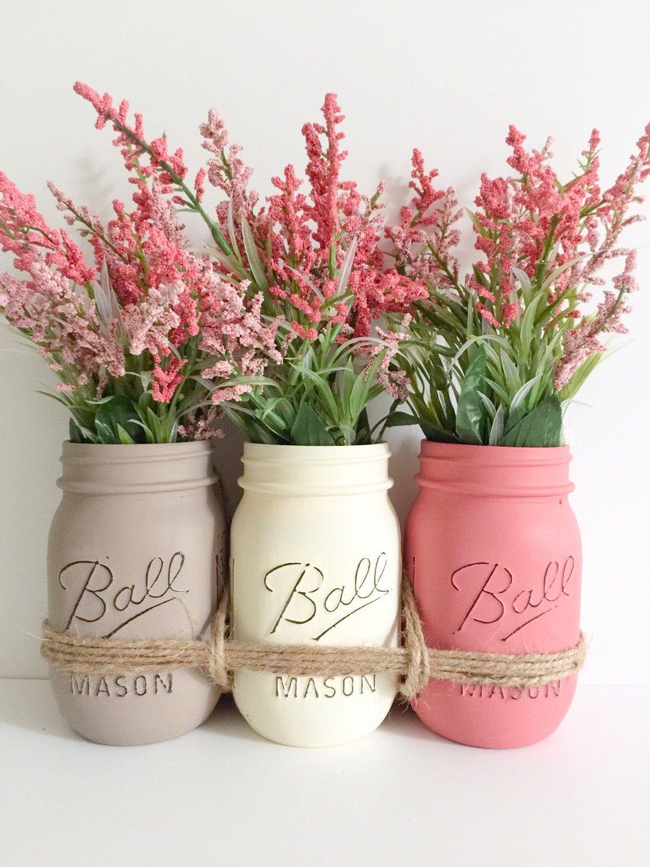 Mason jars centerpiece pint size mason jars hand painted and