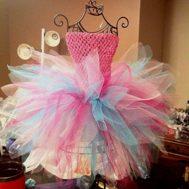 Cotton candy tutu dress... Www.curlyqsbowtique.com