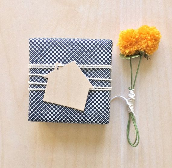 House shaped wood gift tags housewarming banner by paperconfettico