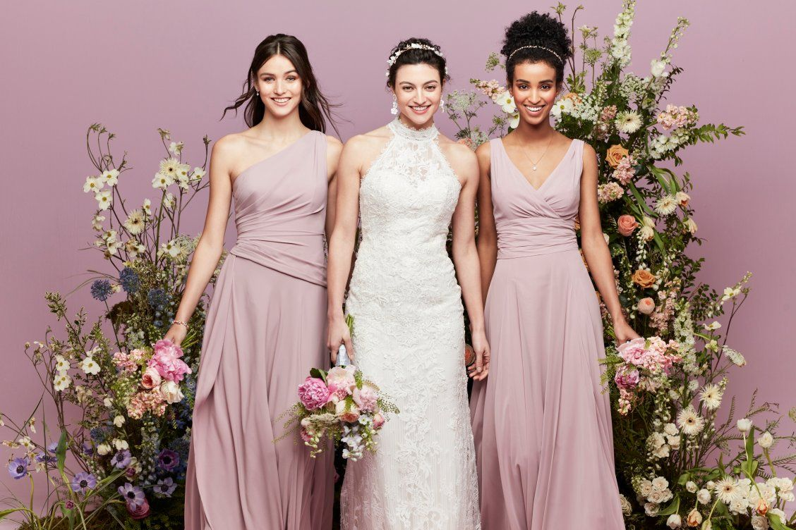 These quartz colored bridesmaid dresses are so romantic