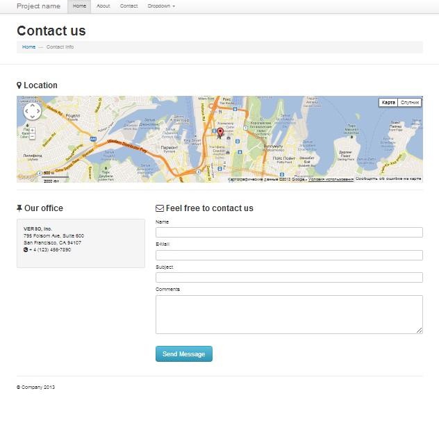 Bootstrap contact responsive template page with working contact form ...