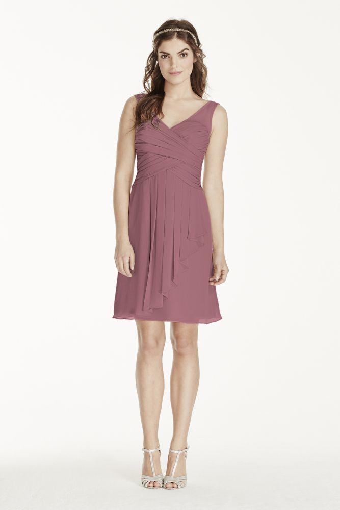 Chiffon Short Extra Length Cascade Skirt Illusion Tank Bridesmaid ...