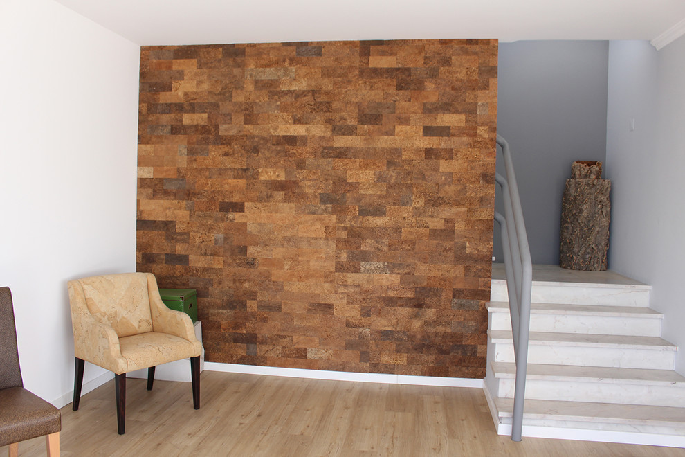 Cork Has An Interesting Look And Looks Well Combined With Other Materials Icork Floor In 2020 Cork Wall Panels Cork Wall Tiles Cork Wall
