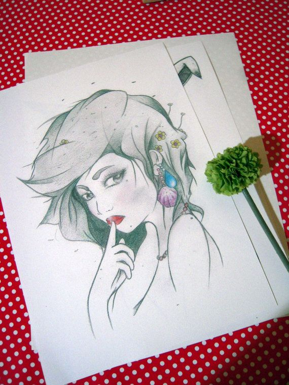 Embun  Romantic Illustration  Signed Print  Woman by MissLawa, €10.00