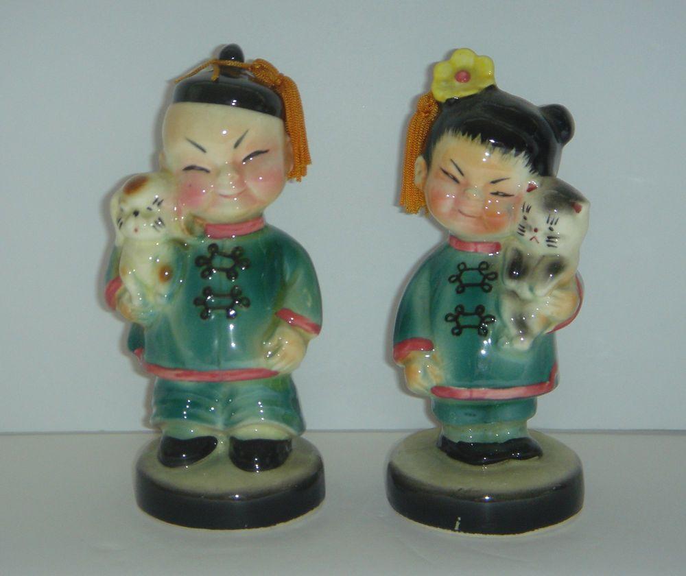 Vintage LEFTON Asian Boy w/ Dog & Girl w/ Cat Figures w/ Tassles ...
