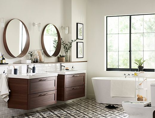 Godmorgon odensvik vanity combination with 2 drawers in for Douche salle de bain ikea