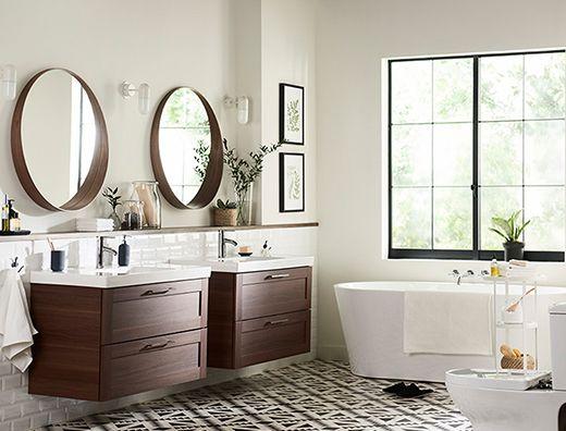 GODMORGON ODENSVIK vanity combination with 2-drawers in walnut - ikea meuble salle de bain godmorgon