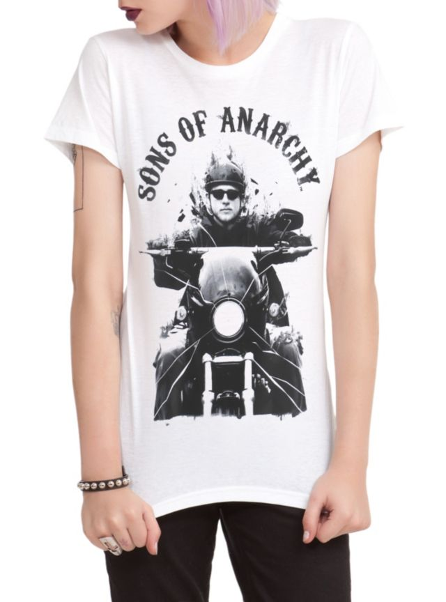 Fitted white tee from Sons of Anarchy with a Jax Teller motorcycle design on front.