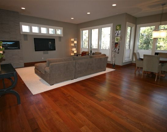 most popular wood floor colors. Living room with gray theme and wood floors  Family 1
