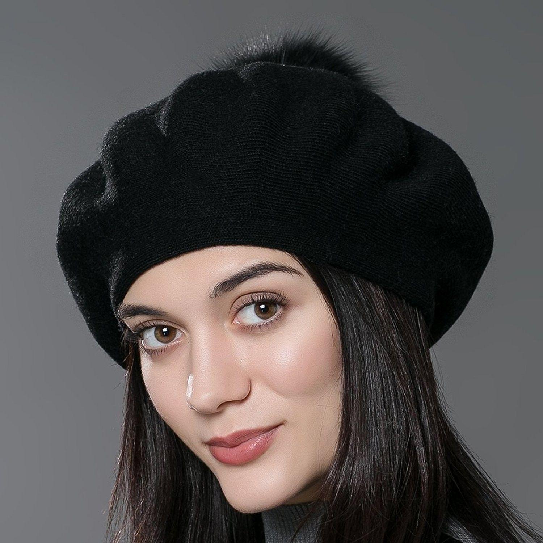 59c8206cf1d Unisex Winter Hat Womens Knit Wool Beret Cap with Fur Ball Pom Pom ...