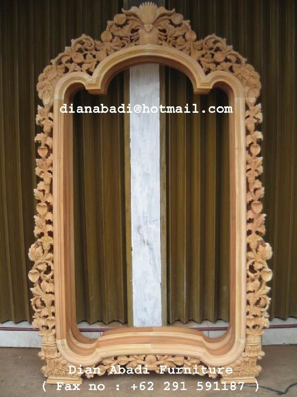 Unfinished Mahogany Furniture, Flower Carved Large Wooden Mirror Frame,  Made Of Fine Solid Kiln