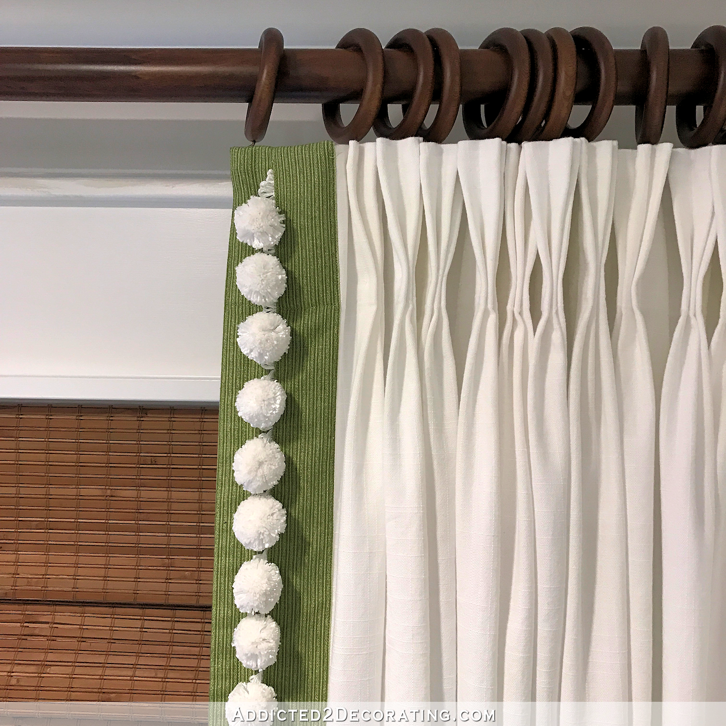 Ikea Ritva Curtains Customized With Contrast Edge Band Pompom Trim And Pinch Pleats Addicted 2 Decorating Curtain Trim Curtains With Blinds Bedroom Blinds