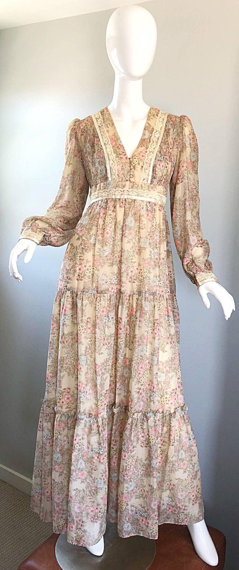 Pretty 1970s Boho Cotton Voile Lace Flower Print Long Sleeve 70s Maxi Dress 70s Maxi Dress Vintage Dress 70s 70s Fashion Dresses [ 1826 x 768 Pixel ]
