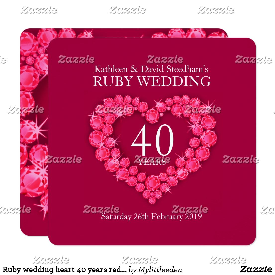 Ruby wedding heart 40 years red party invite | { Wedding Invitations ...