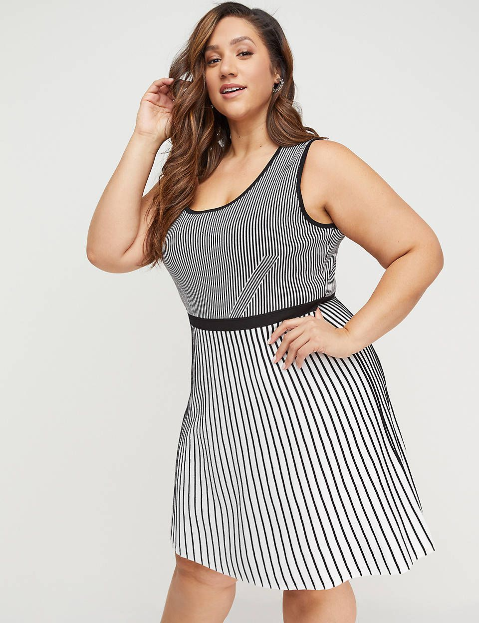 3af71df7f1c Lane Bryant Striped Fit   Flare Sweater Dress in 2019